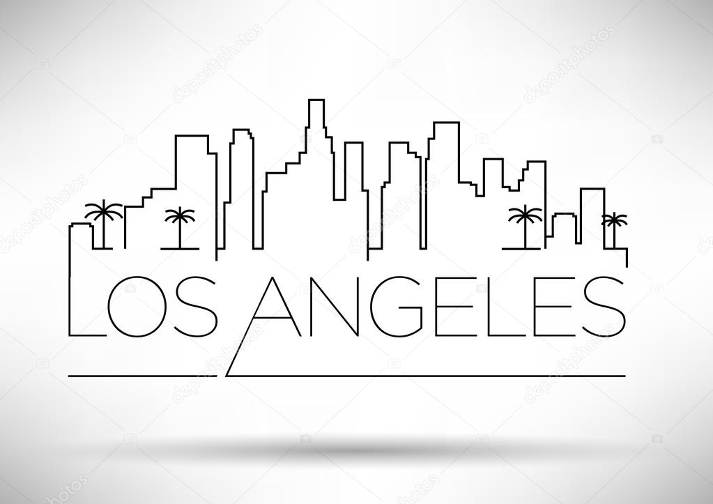 los angeles city line silhouette stock vector los angeles city skyline silhouette vector Chicago Skyline Vector