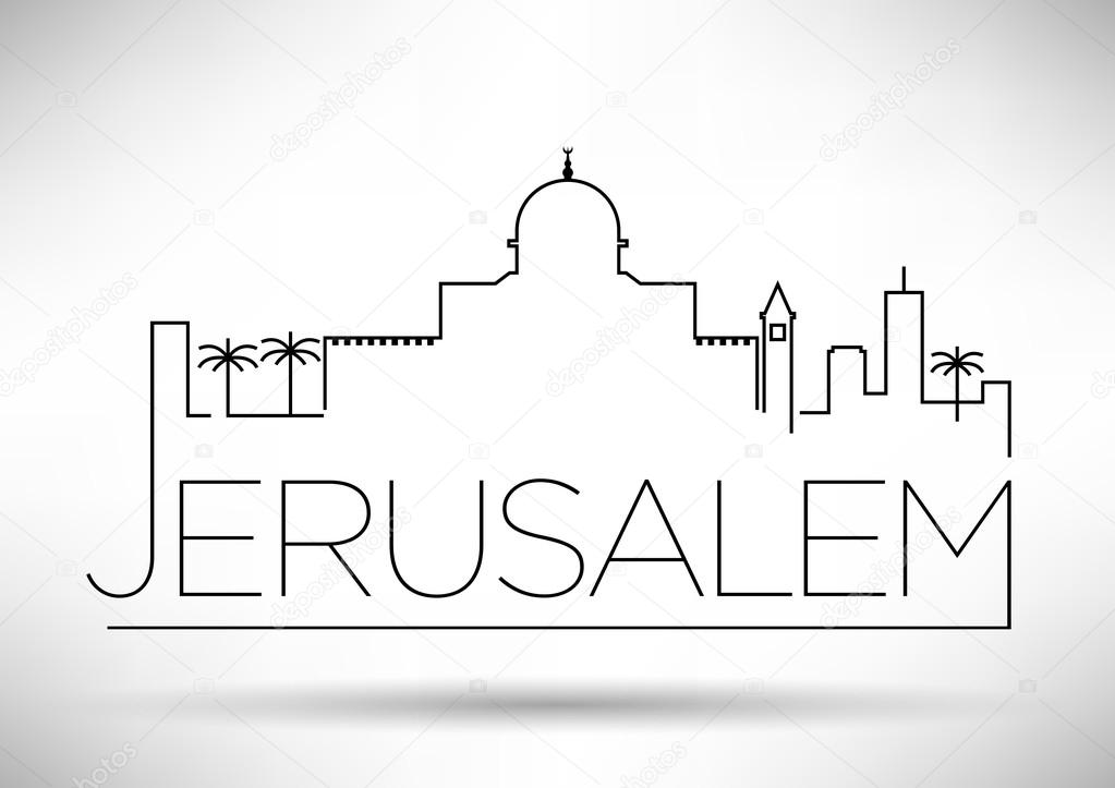 Line Drawing Jerusalem : Jerusalem city line silhouette typographic design — stock