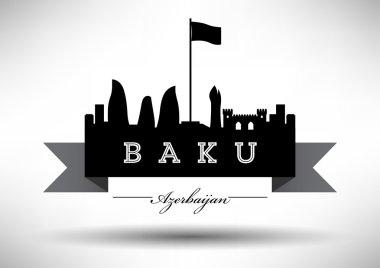 Baku Skyline with Typographic Design