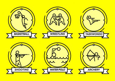 Olympic Sports Stroke Icons Set