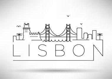 Lisbon City Silhouette Typographic Design
