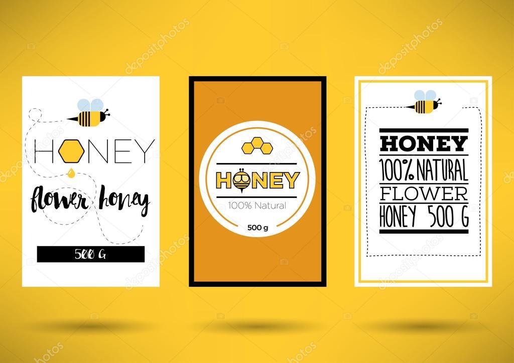 Honig Etiketten Vorlage — Stockvektor © kursatunsal #99390498