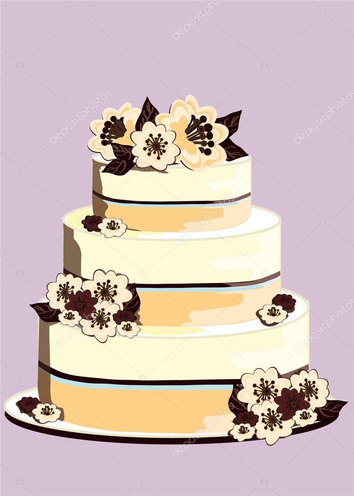Hochzeitstorte Mit Weisser Schokolade Dekoriert Mit Blumen