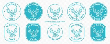 A set of conceptual stamps for packaging products. Labeling - alcohol free. Stamp with a flat icon of a blob with wings - a symbol of the liberated, free. The product is free of absorbable ingredient. Vector grouped elements. icon