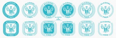A set of conceptual stamps for packaging products. Labeling - alcohol free. Stamp with the symbol of the exempt, free. Bottle with a drink, wings and a flowing ingredient symbol. Vector grouped elements. icon