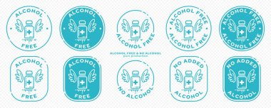 Onceptual stamps for packaging products.Labeling - alcohol free. Stamp with a icon of a medical vial with wings - a symbol of the liberated,free.The product is free of absorbable ingredient. Vector grouped elements. icon