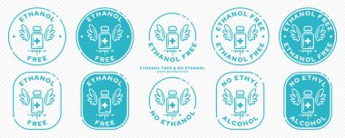 A set of conceptual stamps for packaging products. Labeling - no ethyl alcohol, no ethanol. Round stamp with a flat icon of a medical bottle and wings - a symbol of liberation, freedom. Vector grouped elements. icon