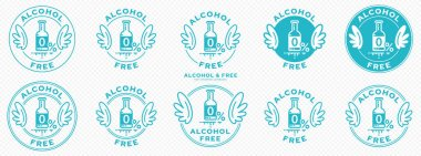 A set of conceptual stamps for packaging products. Labeling - alcohol free. A round stamp with wings - a symbol of liberation, freedom. Bottle flat icon with a line of outflowing ingredient. Vector grouped elements. icon