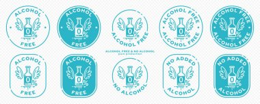 Conceptual stamps for packaging products. Labeling - alcohol free. Stamp with a flat icon of a blob with wings - a symbol of the liberated, free. The product is free of absorbable ingredient. Vector grouped elements. icon