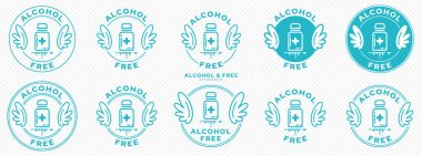 Conceptual stamps for packaging products. Labeling - alcohol free. A round stamp with wings - a symbol of liberation, freedom. Medical vial flat icon with a line of outflowing ingredient. Vector grouped elements. icon