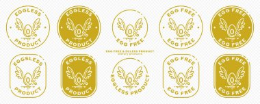 Onceptual stamps for packaging products. Labeling - no eggs added. Stamp with a flat icon of an egg with wings - a symbol of the liberated, free. The product is free of absorbable ingredient. Vector grouped elements. icon