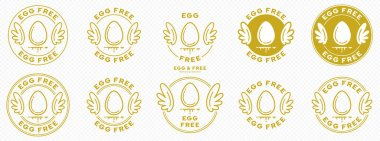 A set of conceptual stamps for packaging products. Labeling - no eggs. A round stamp with wings - a symbol of liberation, freedom. Egg flat icon with a line of flowing out of the composition. Vector grouped elements. icon