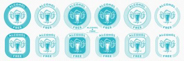 A set of conceptual stamps for packaging products. Labeling - alcohol free. Stamp with the symbol of the exempt, free. Glass with a drink, wings and a flowing ingredient symbol. Vector grouped elements. icon