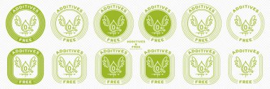 Conceptual stamps for packaging products. Labeling - no additives. Stamp with the symbol of the exempt, free. A blob with wings and a symbol of a flowing ingredient. Vector grouped elements. icon