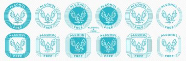 A set of conceptual stamps for packaging products. Labeling - alcohol free. Stamp with the symbol of the exempt, free. Drop with wings and a symbol of a flowing ingredient. Vector grouped elements. icon