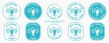 Onceptual stamps for packaging products. Labeling - alcohol free. Stamp with a flat icon of a glass with wings - a symbol of the liberated, free. The product is free of absorbable ingredient. Vector grouped elements. icon