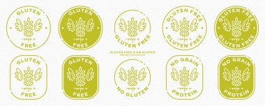 Conceptual stamps for packaging products. Labeled - Gluten Free, Grain Protein Free. Round stamp with a flat spikelet icon and wings - a symbol of liberation, freedom. Vector grouped elements. icon