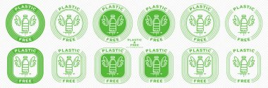 Conceptual stamps for product packaging. Marking - no plastic. Stamp with the symbol of free, containing no ingredient. Plastic bottle with wings and a leaky ingredient symbol. Vector grouped elements. icon