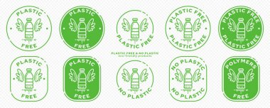A set of conceptual stamps for packaging products. Marking - no plastic. Stamp with a flat icon of a plastic bottle with wings - a symbol of liberated, free. Absorbable, degradable products. Vector grouped elements. icon