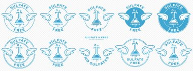 A set of conceptual stamps for packaging products. Labeling - sulfate free. A stamp with wings is a symbol of liberation, freedom. Chemical flask flat icon and flowing ingredient line. Vector icon