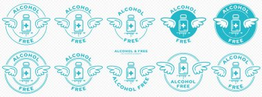 Conceptual stamps for packaging products. Labeling - alcohol free. A round stamp with wings - a symbol of liberation, freedom. Medical vial flat icon with a line of outflowing ingredient. Vector icon