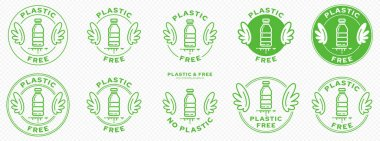 A set of conceptual stamps for packaging products. Marking - no plastic. A stamp with wings is a symbol of liberation, freedom. Plastic bottle flat icon and flowing ingredient line. Vector icon