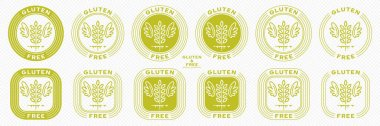Conceptual stamps for product packaging. Labeling - gluten free. A stamp with a grain spikelet icon, wings and a line of flowing ingredient - a symbol of liberation, freedom. Vector set. icon