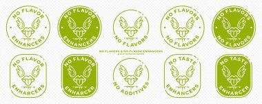 Conceptual marks for product packaging. Labeling - no flavor enhancers. The brand with the mouth icon with wings and a line of the ingredient is a symbol of liberated, free. Vector icon