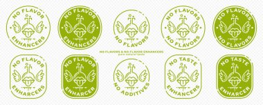 Conceptual marks for product packaging. Labeling - no synthetic flavor enhancers. The brand with a flask-mouth icon with wings and an ingredient line is a symbol of liberated, free. Vector icon