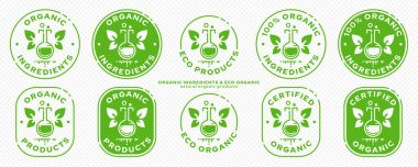 Conceptual marks for product packaging. Labeling - organic ingredients. The brand with the flask, with the winged leaves and the line of the ingredient is the natural flight of the ingredient. Vector icon