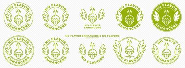 Conceptual marks for product packaging. Labeling - no flavor enhancers. The brand with wings is a symbol of the liberated, free. The icon of the bottle-mouth is a symbol of artificial tastes. Vector icon