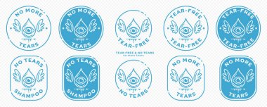 Conceptual stamps for product packaging. Marking - no tears. Stamp with the symbol of the free. A drop with an eye and wings - a symbol of one free from tears. Vector grouped elements. icon