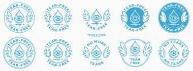 Conceptual marks for product packaging. Marking - no tears. The brand with wings is a symbol of the not containing, free. Teardrop icon with eye and flowing line. Vector icon