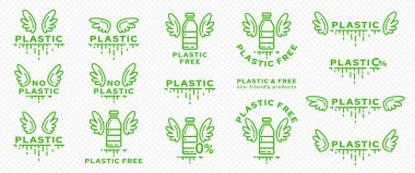 A set of icons for packaging products. Marking - no plastic. Plastic bottle with wings and line of absorbable biodegradable product. Free symbol from ingredient. Vector icon