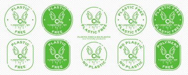 A set of conceptual stamps for packaging products. Marking - no plastic. Stamp - zero percent with wings - a symbol of free. The current line is the symbol for absorbable, biodegradable products. Vector icon