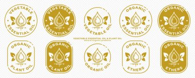 Conceptual stamps for product packaging. Marking - essential oil. Butter potassium with natural leaf-wings is a symbol of the natural flight of ingredients in the composition. Vector icon