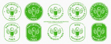 Conceptual stamps for product packaging. Labeling - no antibiotics. A  capsule with wings - a symbol of drug-free. Vector grouped elements. icon