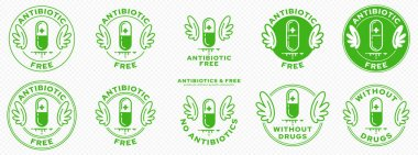 Conceptual marks for product packaging. Labeling - Hormone Free. The Wings Stamp is a symbol of an ingredient-free product. Medical capsule icon with antibiotics. Vector icon