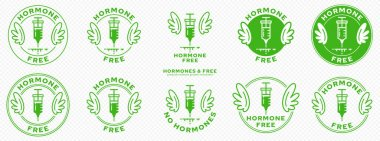 Conceptual marks for product packaging. Labeling - Hormone Free. Brand with with Wings and Ingredient Line - Ingredient-Free Product Symbol. An injection with hormonal drugs. Vector icon