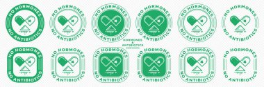 Concept for product packaging. Labeling - no hormones or antibiotics. A stamp with an open capsule badge, poured medication and a line of flowing ingredient - a symbol of freedom. Vector set. icon