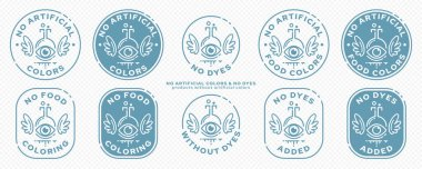 Concept stamps for product packaging - no artificial colors. The flask is an eye with wings and a line of an ingredient flowing out - a symbol of liberation from synthetic components. Vector icon