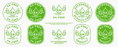 Concept for plastic products. Labeling - no estrogenic activity. The chemical flask icon with wings, EA abbreviation and a flowing ingredient line is a symbol of freedom. Vector set. icon
