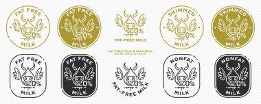Concept for product packaging. Labeling - Skim milk. Fatty milk drop icon with cow, wings - symbol of freedom from the ingredient. 0% fat in dairy products. Vector set. icon