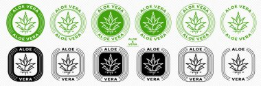 Stamps for packaging of cosmetic products. The label is aloe vera extract. Plant icon with flowing ingredient line. Vector set. icon