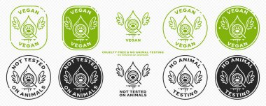 Concept for product packaging. Marking - vegan and not tested on animals. The symbol of test drops of animals with wings - as a symbol of freedom from testing. Vector set. icon