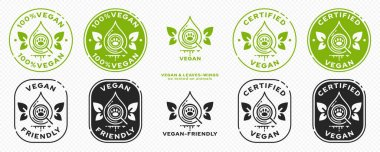 Concept for product packaging. Labeling - Vegan. The symbol for the drop tested for ingredients of animal origin is the result of a plant-based vegan product. Drop with wing-leaves. Vector set. icon