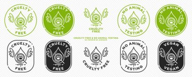 Concept for product packaging. Marking - cruelty free and not tested on animals. The symbol of test drops of animals with wings - as a symbol of freedom from testing. Vector set. icon