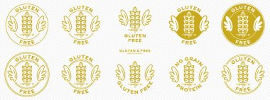 A set of conceptual stamps for packaging products. Labeling - gluten free. A stamp with wings is a symbol of liberation, freedom. Cereal spikelet flat icon and flowing ingredient line. Vector icon