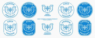 Concept for product packaging. Marking - keep frozen and frozen product. The icon of hands in mittens keeping a cold snowflake is a symbol of keeping products chilled. Vector set. icon