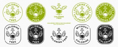 Concept for product packaging. Labeling - chlorine free. Chemical flask icon with chlok, vapor and liquid line with wings - a symbol of freedom from the ingredient. Vector set. icon